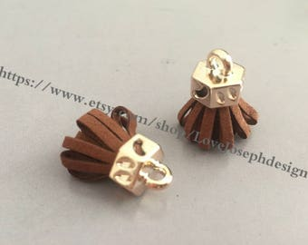 20pieces light brown suede leather KC gold caps ear tassel --for length 30mmx20mm (#0188)