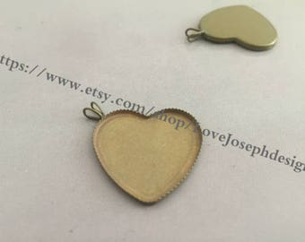 10 Pieces /Lot Antique Bronze Plated 25mm cabochon love heart bezel trays charms (#0258)