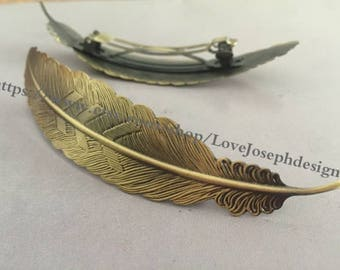 antique bronze plated 23mmx108mm feather french Alligator hair clip(#0263)