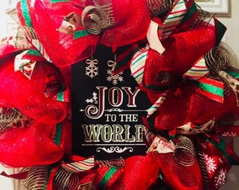 Christmas wreath, mesh wreath, red and black wreath, joy to the world wreath, christmas mesh wreath, red wreath