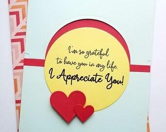 "Handmade ""I Appreciate You"" Card. Thinking of You Card. Just Because Greeting Card. Handmade Card. Unique Card. Blank Greeting Card."