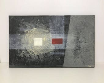 Original abstract, modern painting in gray and black on canvas. By RluArt
