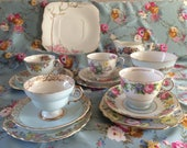 15 piece part tea set in mismatched pale blue china , very pretty. 1930's - 1950's.