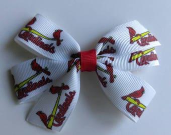 ST LOUIS baseball inspired hair bow, STL Cardinals hair bow, sports ribbon, Cardinals baby headband, Saint Louis Cardinals bow