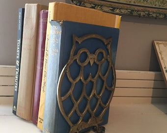 Solid Brass Vintage Owl Bookends Mid Century Book Shelf Decor Eclectic