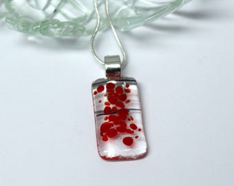red and black fused glass necklace - black stripes and red dots glass pendant - art glass jewellery - jewelry - melted glass - UK maker