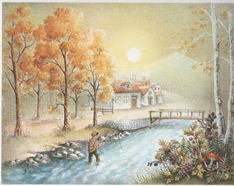 Lithograph for 3D painting 24 x 30 cm River child fishing