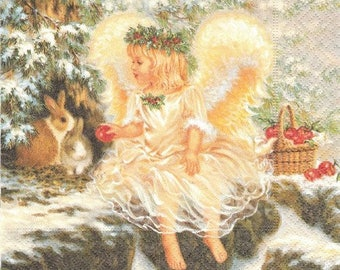 20 33 cm LOVELY ANGEL collage decoupage paper napkins