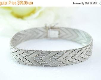 HUGE Sale Broad Chevron Pattern Hinged Bar Link Bracelet Sterling Silver 31.4g