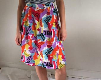 Vintage 90s Bold Coloful 100% Silk Skirt | 6/8