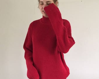 Vintage 90s Tomato Red 100% Cotton Ribbed Chunky Mock Neck Sweater | XL