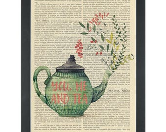 Flower Tea Pot You me and Tea Dictionary Art Print