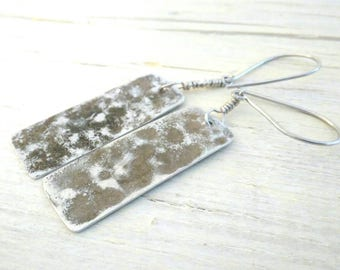 Earrings Women's pendants hammered aluminum moon effect handcrafted ethnic handmade jewelry