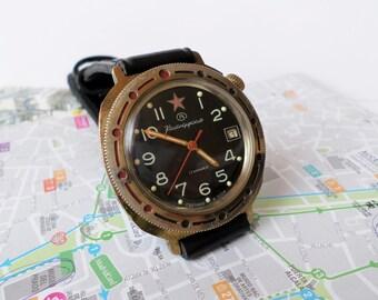 Soviet Military Watch Vostok Komandirskie, Mechanical Watch, Mens Wrist Watch Wostok, Soviet Union Watch, Russian Watch, USSR Watch