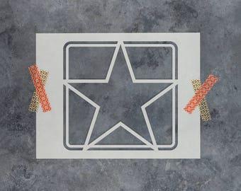 Army Star Stencil - Reusable DIY Craft Stencils of an Army Star