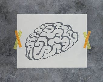 Brain Stencil - Reusable DIY Craft Stencils of a Brain
