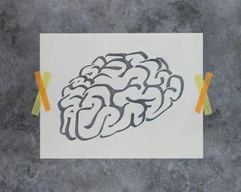 Brain Stencil - Reusable DIY Craft Stencils of a Brain