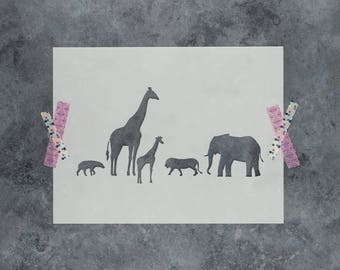 Wildlife Stencil - Reusable DIY Craft Stencils of a Wildlife Scene of Animals
