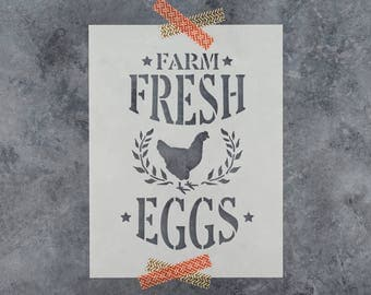 Farm Fresh Eggs Stencil - Reusable DIY Craft Stencils of a Farmhouse Sign for Farm Fresh Eggs - Great Stencil for Wood Signs!