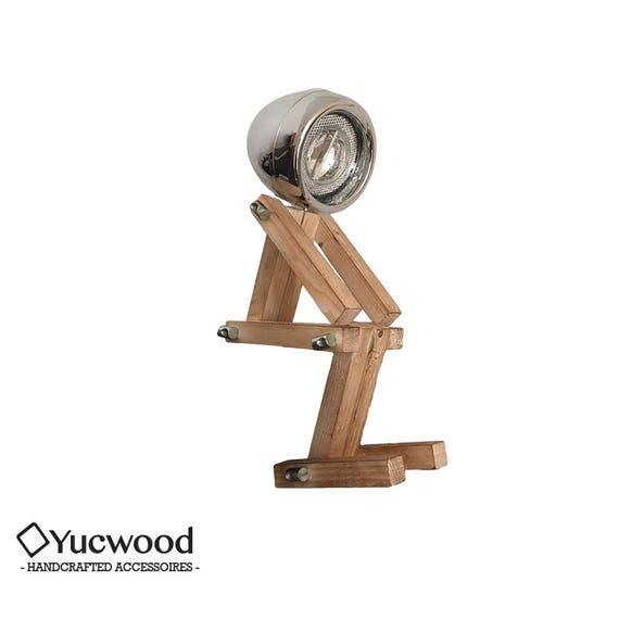 "Bureaulamp, Nachtlamp, ""Desk Buddy"", Industriele Lamp, Houten lamp, Handgemaakt, Loft, Natuurlijke Lamp, Retro, Chroom"