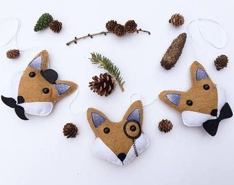 Woodland Fox Gentlemen Foxes Mustache Monocle Top Hat Bow Tie Baby Nursery Bunting Garland Forest Mountain Tree Bear Nature Baby Shower Gift