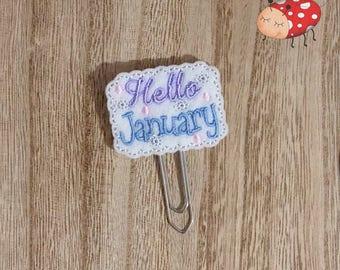 Hello January planner clip, Hello January paperclip, embroidered planner clip, embroidered paperclip, felt planner clip, felt paperclip,