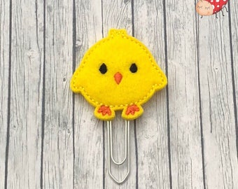 chick feltie paper clip, paperclip, planner clip, embroidered, planner accessory, bookmark, stationery, gift, Spring, paperwork, decoration,