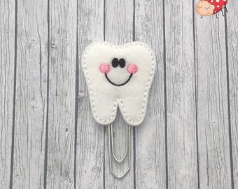 Tooth planner clip, paperclip, office supplies, planner accessory, organiser accessories, embroidered, study, felt, paperwork,