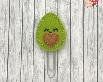Avocado planner clip, paperclip, office supplies, paperwork, planner, organiser accessory, study, felt, embroidered, gift, journal