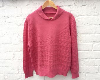 Vintage pink sweater, summer knit jumper, retro pullover