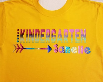 Kindergarten, Arrow, Personalized with Name T-shirt, Kindergarten Tee, Kindergarten Gift