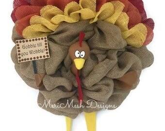 Burlap Turkey Wreath, Fall Wreath, Gobble Wreath, Burlap feather wreath, thanksgiving wreath, turkey feathers wreath, merimeshdesigns