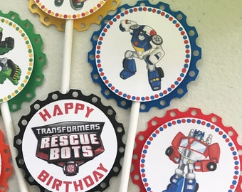 Transformers Rescue Bots Cupcake Toppers / Transformers Rescue Bots Birthday