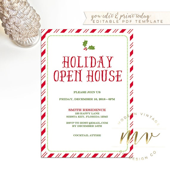 holiday open house invitation template christmas invite 5x7