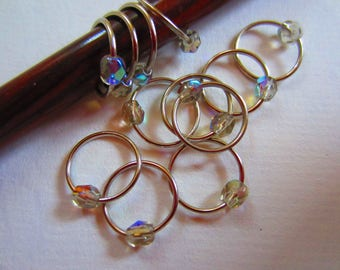 12 Large Crystal Ring Stitch Marker / Round Snagless Metal / Knitting