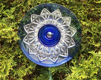 Repurposed Glass Garden Flower Decor