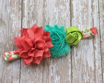 Coral Floral Print Headband Shabby Chic Headband Baby Headband Toddler Headband Coral, Aqua, and Green
