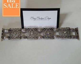 Apple Watch Band 38mm, Apple Watch Band 42mm, Apple Watch Series I and II, Antique Silver Square Filigree
