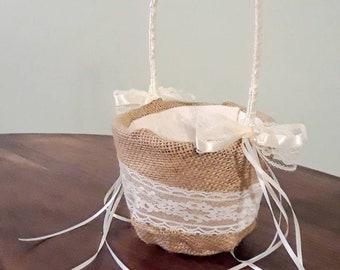 Burlap Rustic Lace Flower Girl Basket