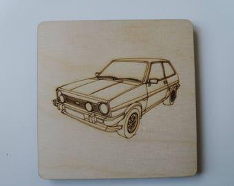 Ford Fiesta Mk1 XR2 Coaster - Etched wood