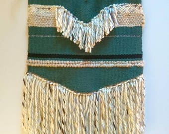 Woven wall hanging green and beige