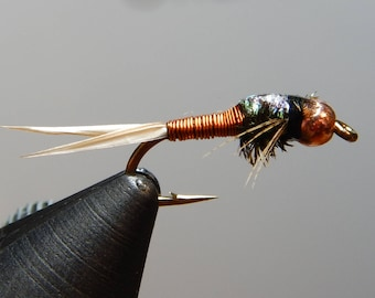 Three (3) Copper John flies, w/ tungsten weight, size 14-18 (Amber,Red,Green,Copper), for fly fishing