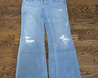 Thrifted Womens Jeans, Women's Distressed Jeans, Blue Jeans, American Eagle Jeans, AE Jeans, Gift for Her, Women's Clothing Size 8 Jeans
