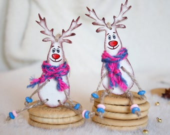 Deer Christmas ornaments handmade. Wooden handmade. Christmas ornaments. Christmas tree ornaments. Xmas gifts. Xmas decorations.