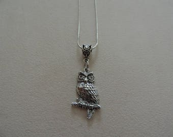 OWL necklace, snake chain