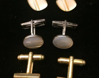 Mother of Pearl Cufflinks. 3 Pairs