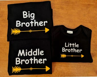 Big Middle Little Brother Shirts with Arrow - Matching Brother Shirts - Big Brother Middle Brother Little Brother Shirts - Big Brother Shirt