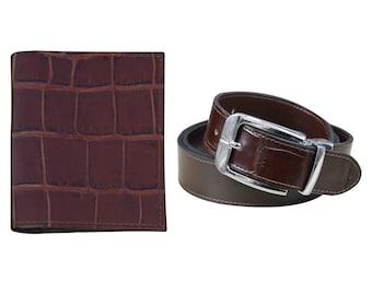 Stunning Wallet & Belt Crocodile Texture Leather Pair for Men