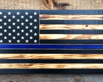 "Police thin blue line American flag 50 star wall art 11""x 21"" Police flag. Back our blue police flag."