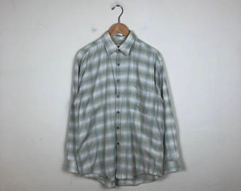 90s Plaid Button Up Size Medium, Vintage Men's Button Up M, Creme Button Up, Light Green Button Up